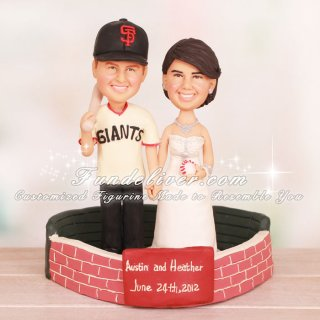Couple Standing Inside of San Francisco Giants Stadium Cake Toppers