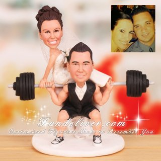 Bride Sitting on Barbell Powerlifting Cake Toppers