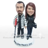 Vintage Guitarist and Camerist Cake Topper, Guitar Player and Photographer Cake Topper