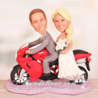 Bride and Groom Riding Ducati Motorbike Wedding Cake Toppers