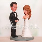 Texting Groom and Annoyed Bride Wedding Cake Toppers