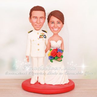 Lieutenant LT Navy Dress White Wedding Cake Toppers