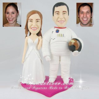 Astronaut Cake Toppers, Space Theme Wedding Cake Toppers