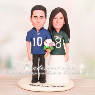 NY Football Giants and Philadelphia Eagles Wedding Cake Toppers