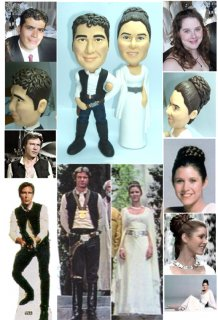 Princess Leia and Hans solo Cake Topper, Custom Star Wars Theme Wedding Cake Topper