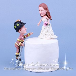 Firefighter Climbing Ladder to Save Bride Cake Toppers