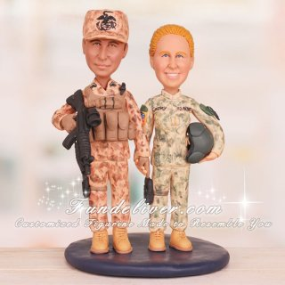 Marine Corps and Army Wedding Cake Toppers