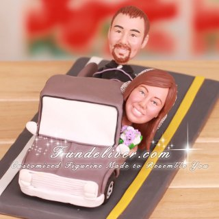 Groom Tied Down in Back of Truck Cake Toppers