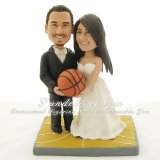 Basketball Wedding Cake Toppers, Customized Figurines Holding a Basketball Together