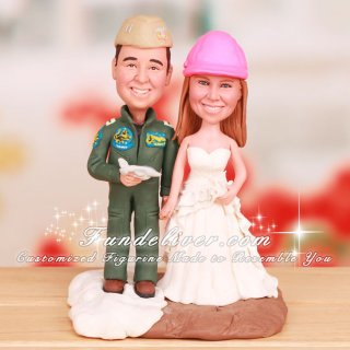Civil Engineer and Navy F-18 Aviator Cake Toppers