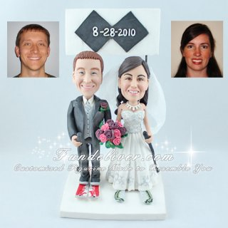 Skier Cake Toppers with Double Black Diamonds Sign