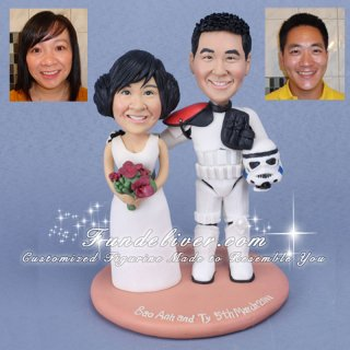 Groom in Sandtrooper Armour Star Wars Cake Toppers