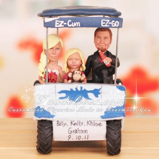 Family in Golf Cart Golf Theme Cake Toppers