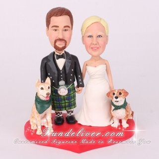 Groom in Kilt Scottish and Irish Theme Wedding Cake Toppers