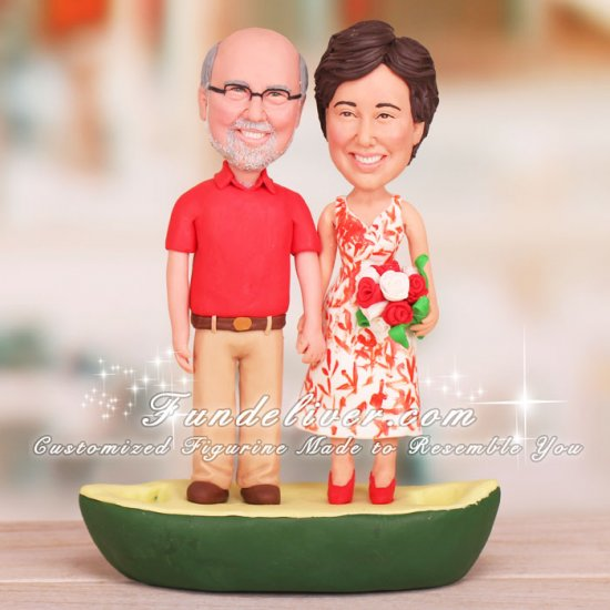 Funny Anniversary Cake Toppers Canoe Theme - Click Image to Close