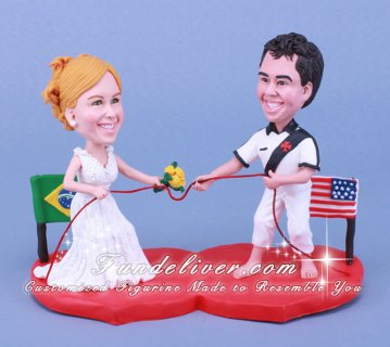 Multi National and Ethnic Wedding Cake toppers Pull Rope Fighting Theme