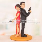 Bride in Cheongsam with Phoenix Symbol Chinese Wedding Cake Toppers