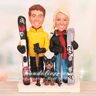 Couple in Ski Gear Skiing Cake Topper