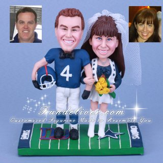 Dallas Cowboy Cheerleader and New York Giants Cake Toppers