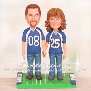 Bride and Groom in Royal Blue Jersey and Crocs Cake Toppers