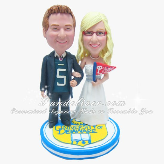 University of Delaware Wedding Cake Toppers, University Cake Topper - Click Image to Close