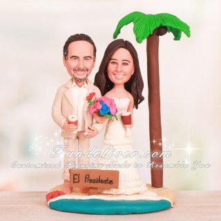 Groom Holding Cigarette Tropical Beach Wedding Cake Toppers