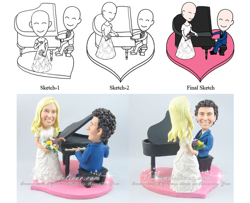 Piano Player Wedding Cake Toppers