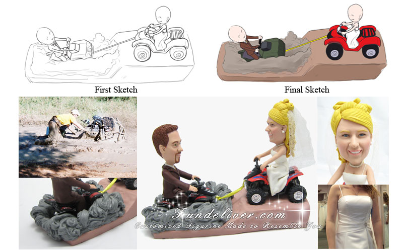 ATV Four Wheeler Wedding Cake Toppers