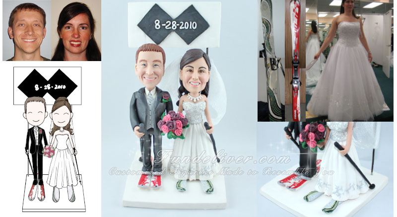 Skier Wedding Cake Toppers with Double Black Diamonds Sign