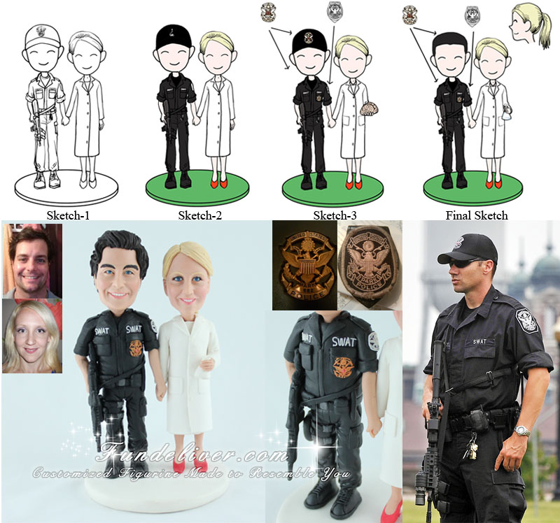 Federal SWAT Officer and Scientist Wedding Cake Topper
