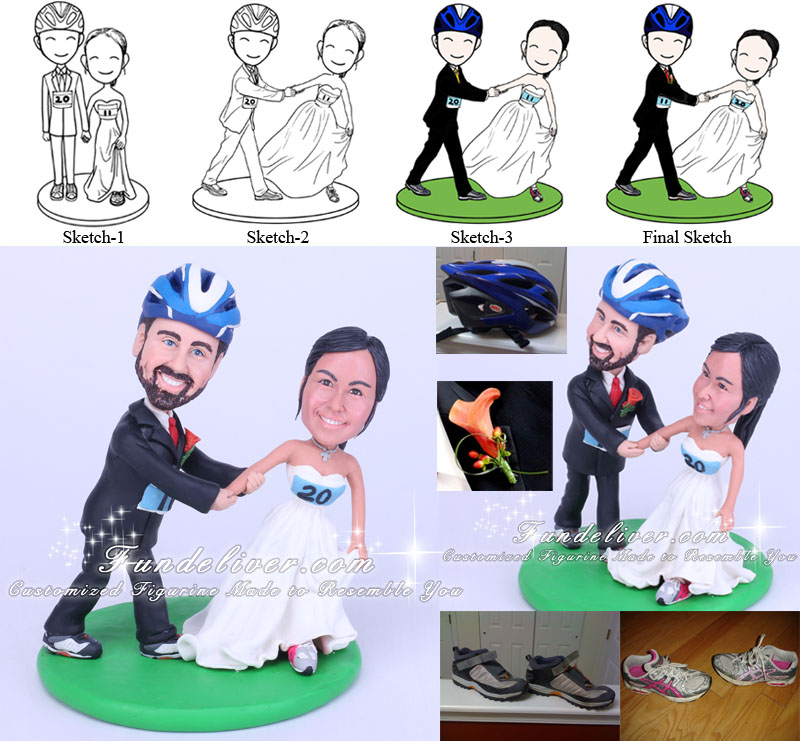 cyclist and runner wedding cake topper