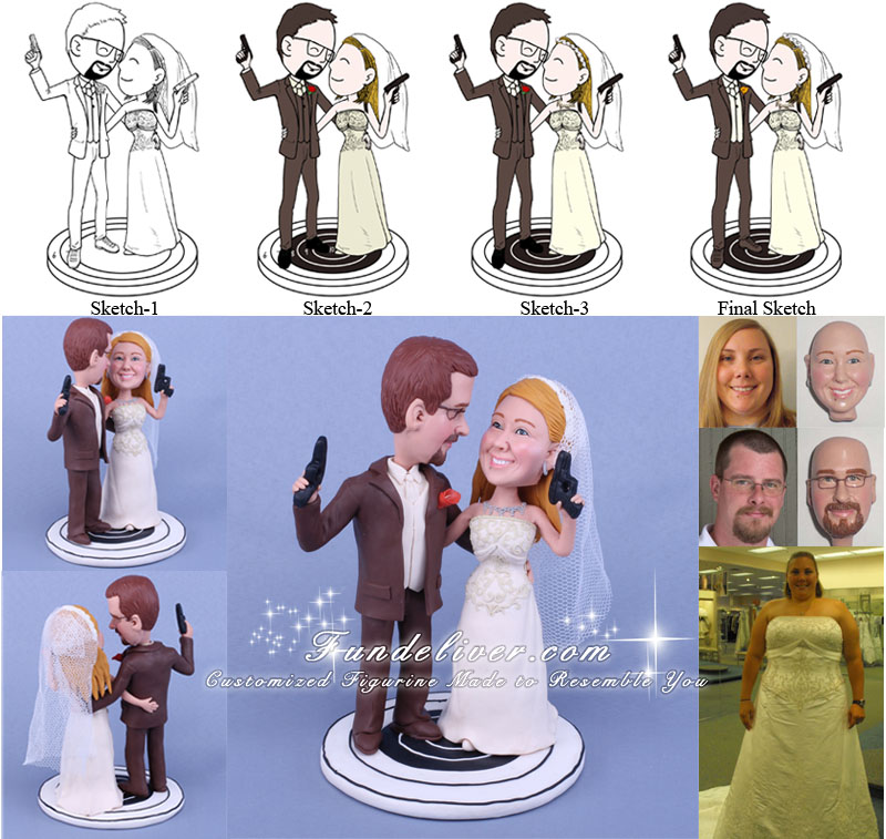 Sport Gun Shooters Wedding Cake Toppers