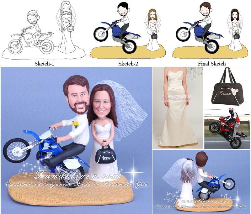 Groom Doing Wheelie on Motorcycle Wedding Cake Toppers