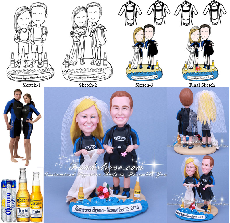 Taking Off Wedding Attire and Heading Diving Cake Toppers