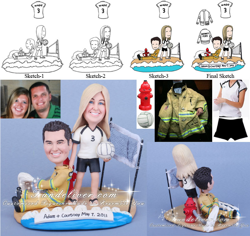 Volleyball-aholic & Firefighter Wedding Cake Toppers