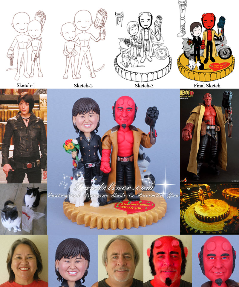 Hellboy and Liz Wedding Cake Toppers