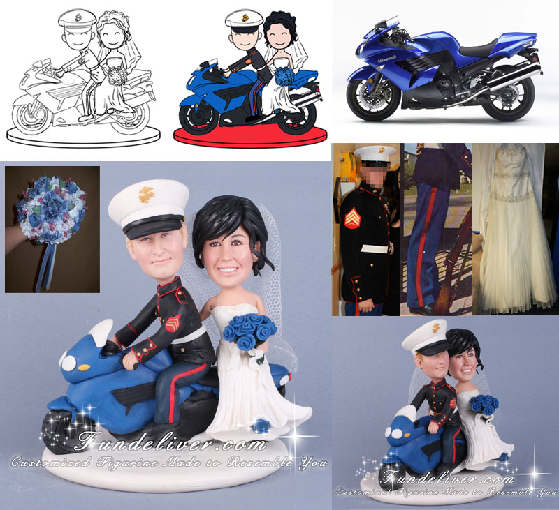 Marine Groom Riding Motorcycle Cake Toppers