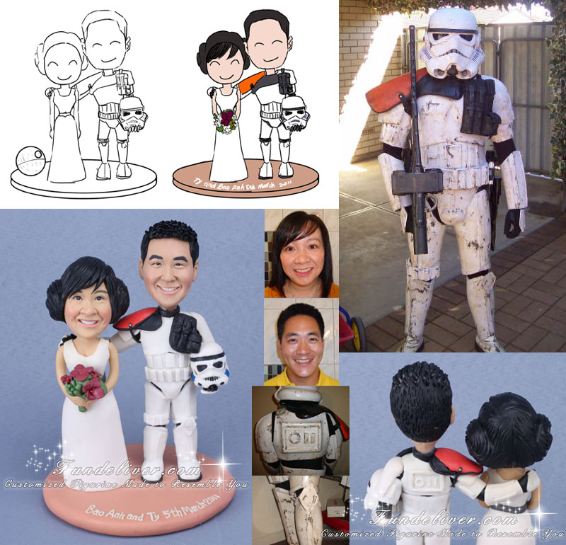 Groom in Sandtrooper Armour Star Wars Wedding Cake Toppers
