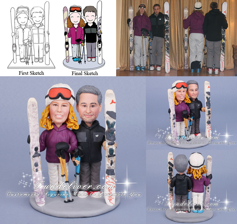 Skier Wedding Cake Toppers