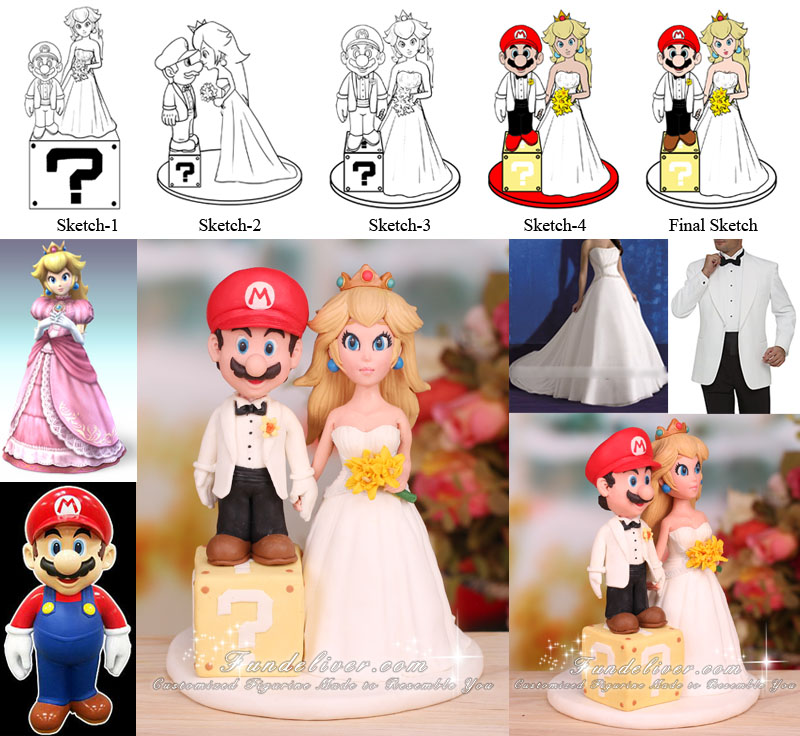 Mario and Princess Peach Wedding Cake Toppers