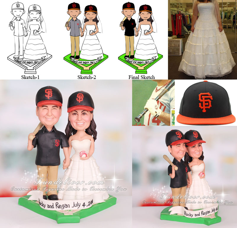 San Francisco S.F. Giants Baseball Wedding Cake Topper