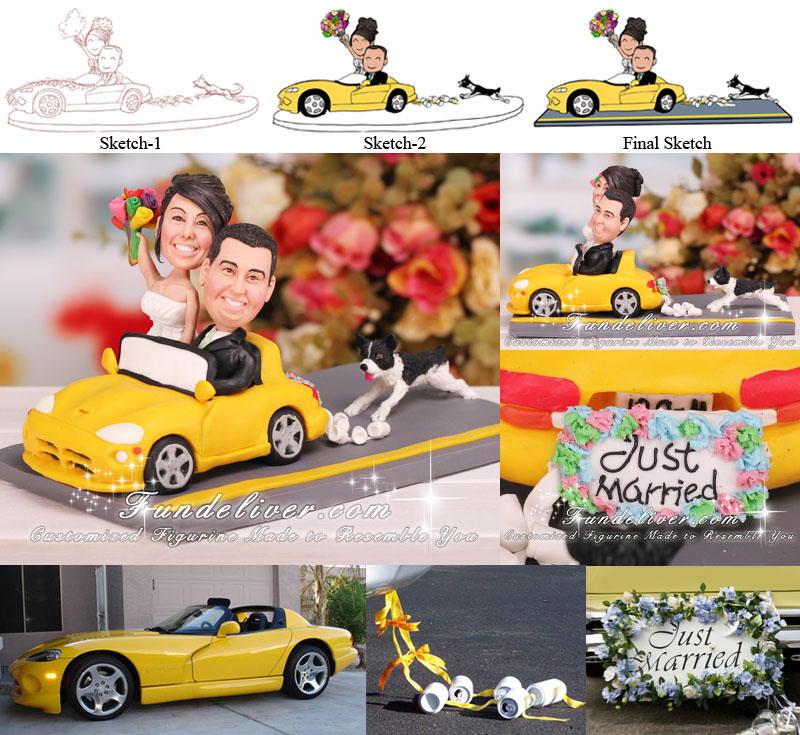 Couple in Car Wedding Cake Topper