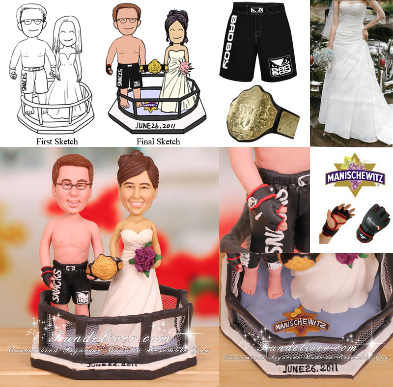 MMA Mixed Martial Arts Fighter Wedding Cake Toppers UFC Fighting Theme