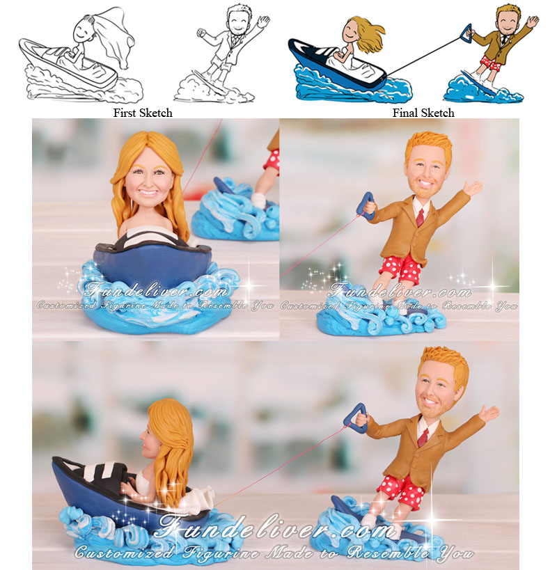 Speed Boat and Wakeboarding Cake Topper