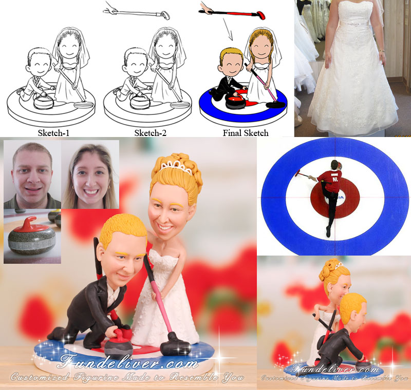 Curling Couple Curlers Wedding Cake Toppers