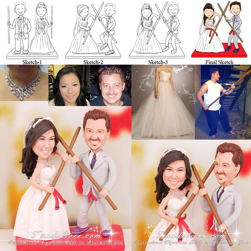 Kung Fu Wedding Cake Toppers