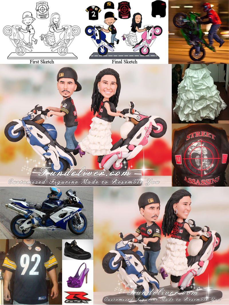 Motorcycle cake topper couple on motorcycle wedding cake topper