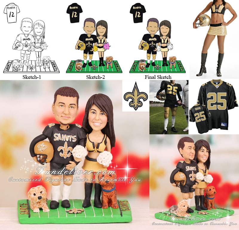 Football Cake Toppers New Orleans Saints themed