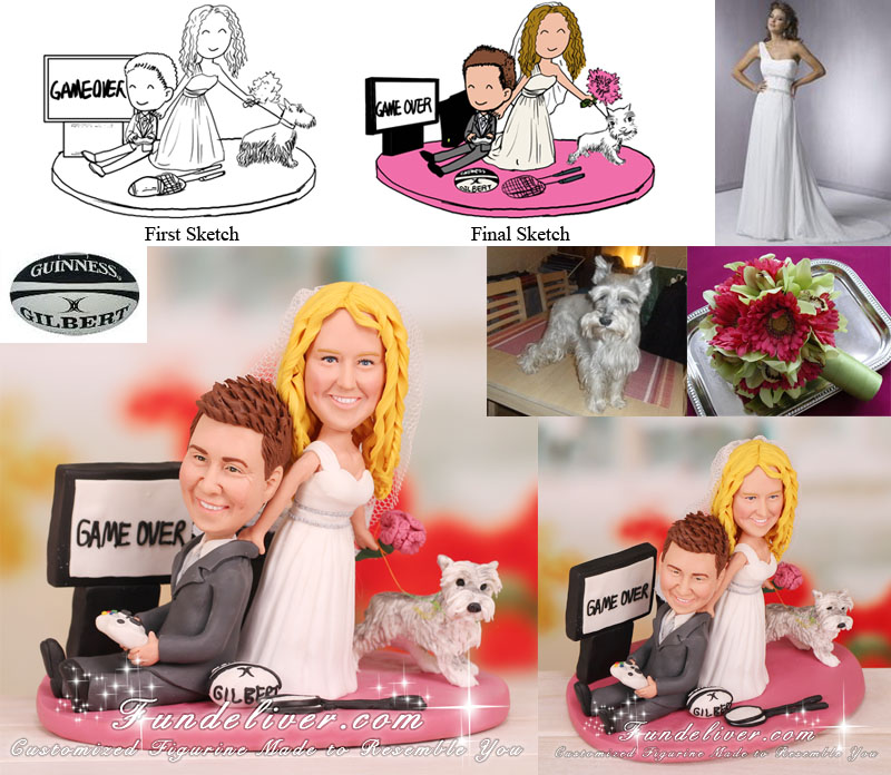 Xbox Gamers Wedding Cake Toppers