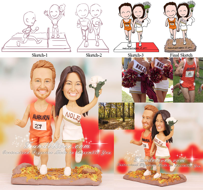 Auburn University Track Runner and FSU Cheerleader Wedding Cake Topper